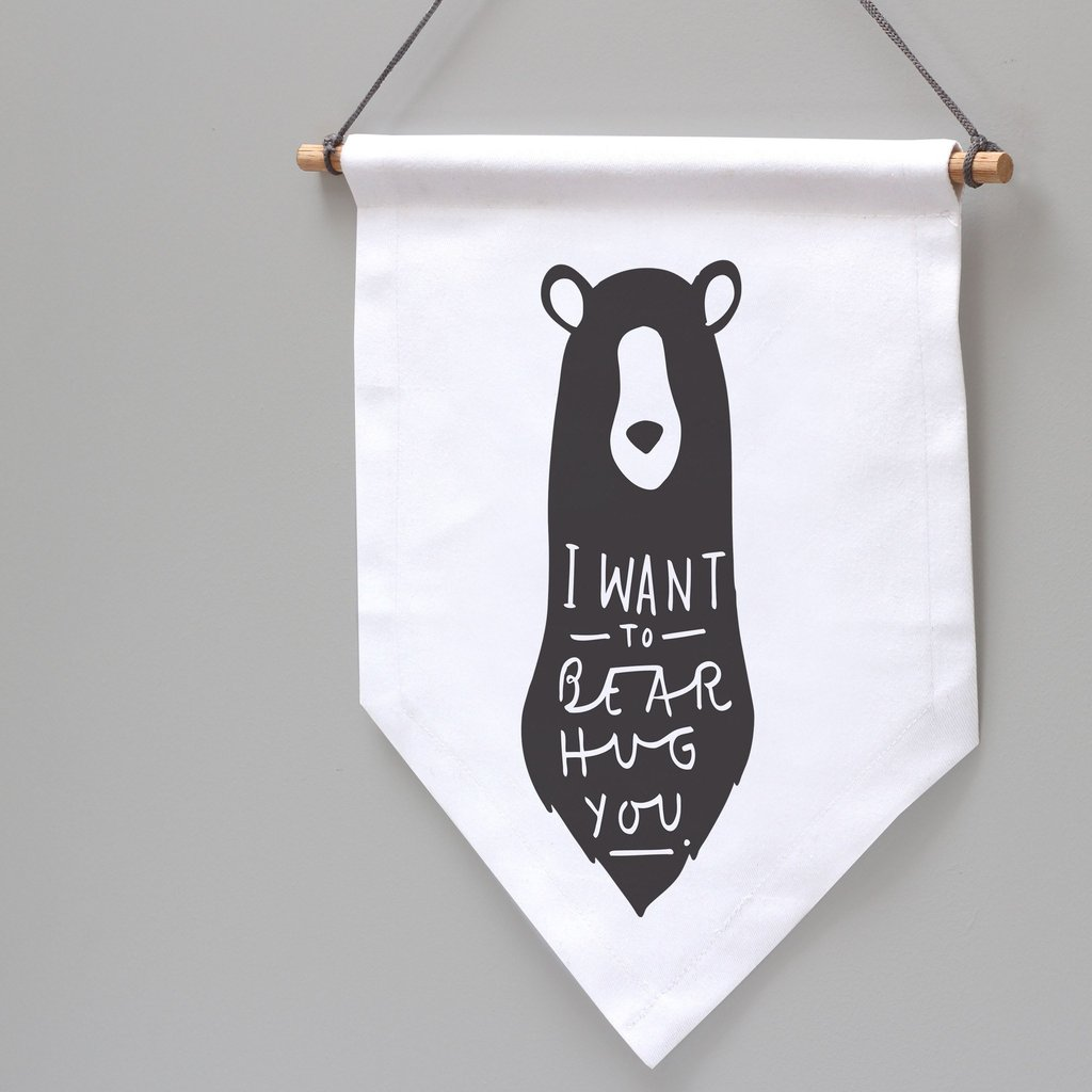 Bear Hug Wall Penant Flag Close Up 1024x1024