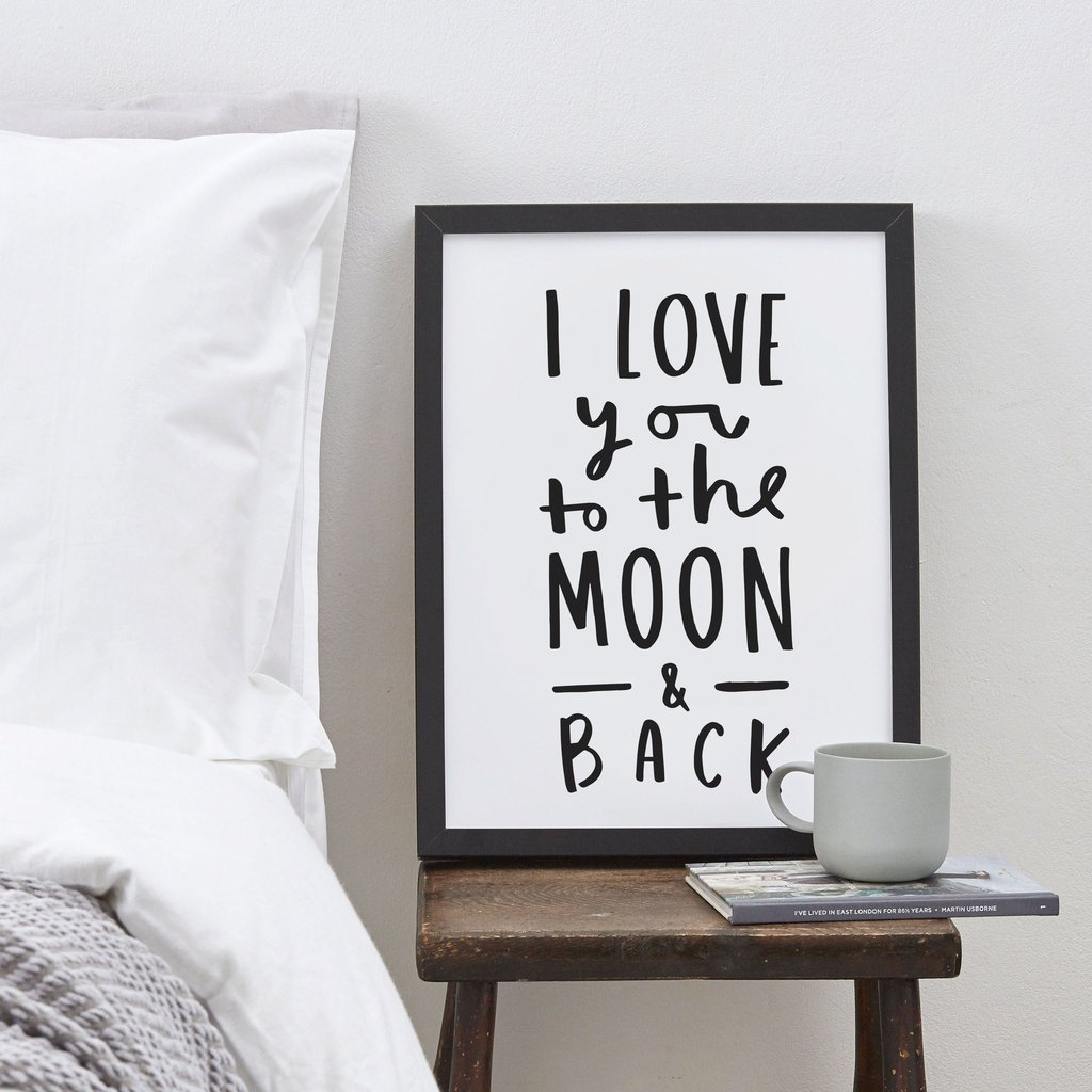 Love You To The Moon And Back Personalised Typography Print Black White 1024x1024