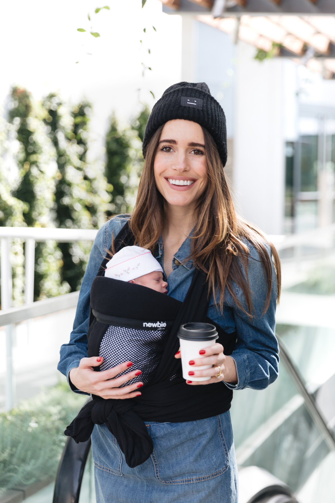Louise Roe Wearing Newbie Love Baby Wrap Carrier 4