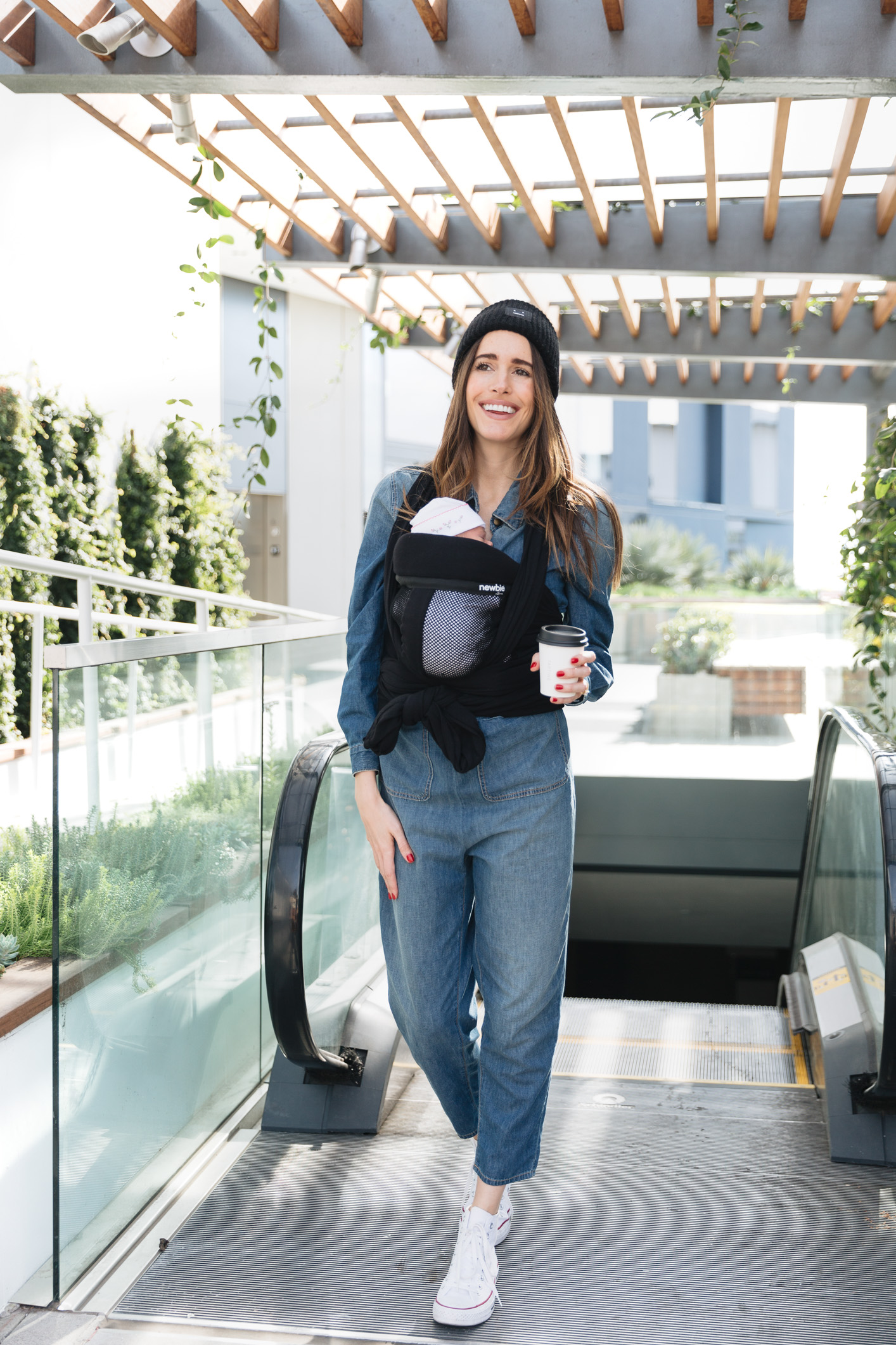 Louise Roe Wearing Newbie Love Baby Wrap Carrier 5