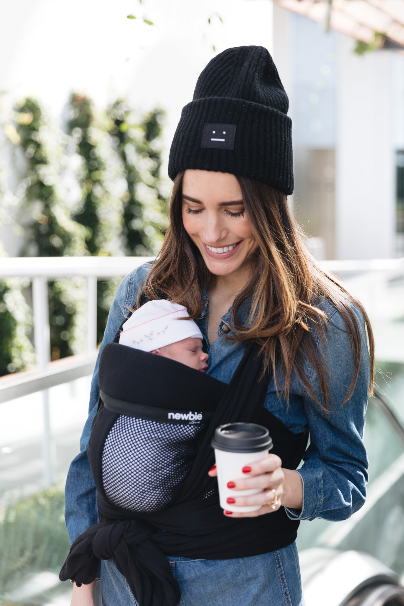 Louise Roe Wearing Newbie Love Baby Wrap Carrier 6