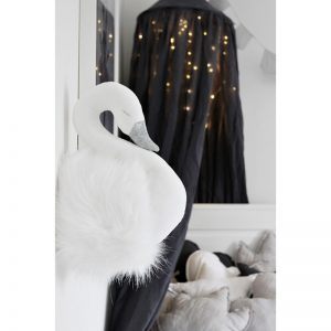 Swan Wall Bust – White Fur On White