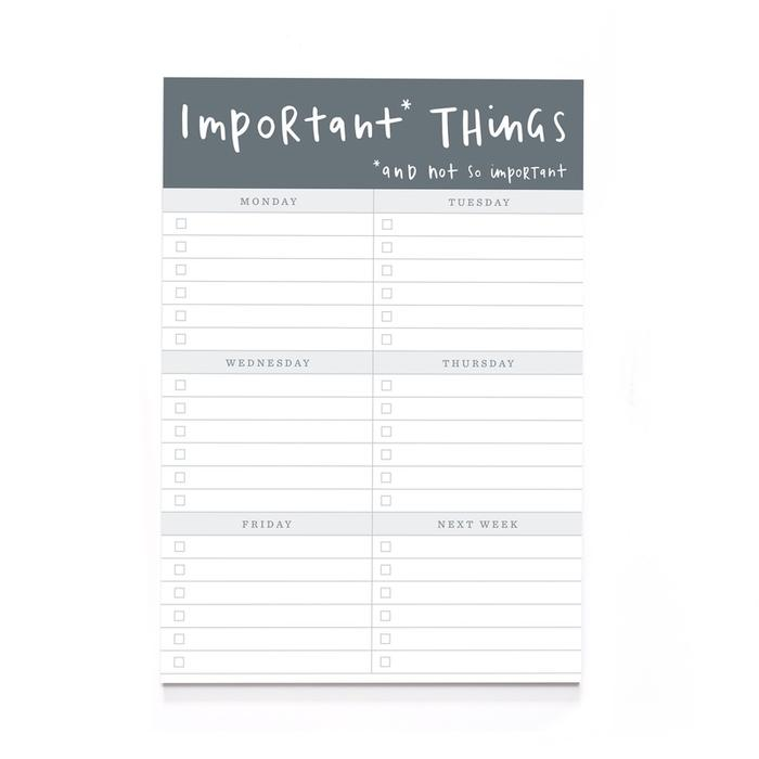 A5 Planner Notepad Important Things X700