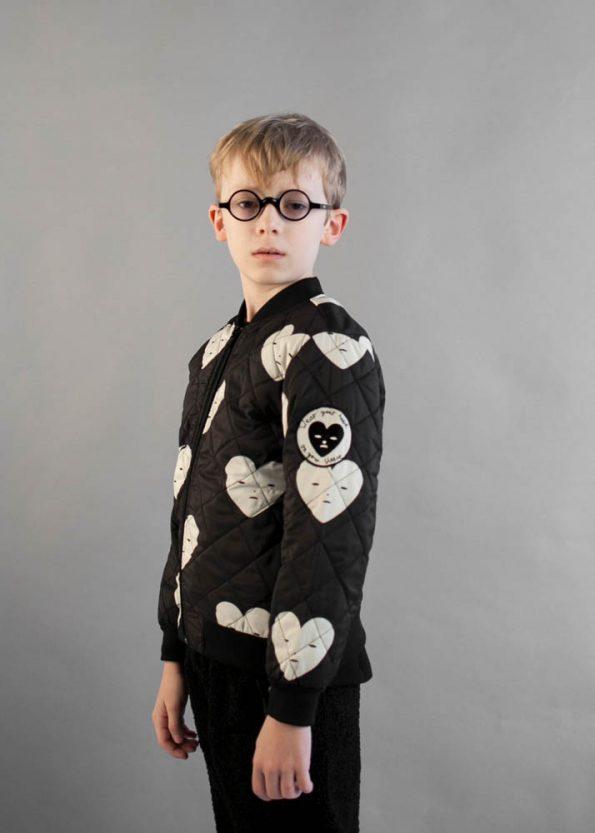 Beau Loves Black Hearts Padded Bomber Black Teddy Fur Pants