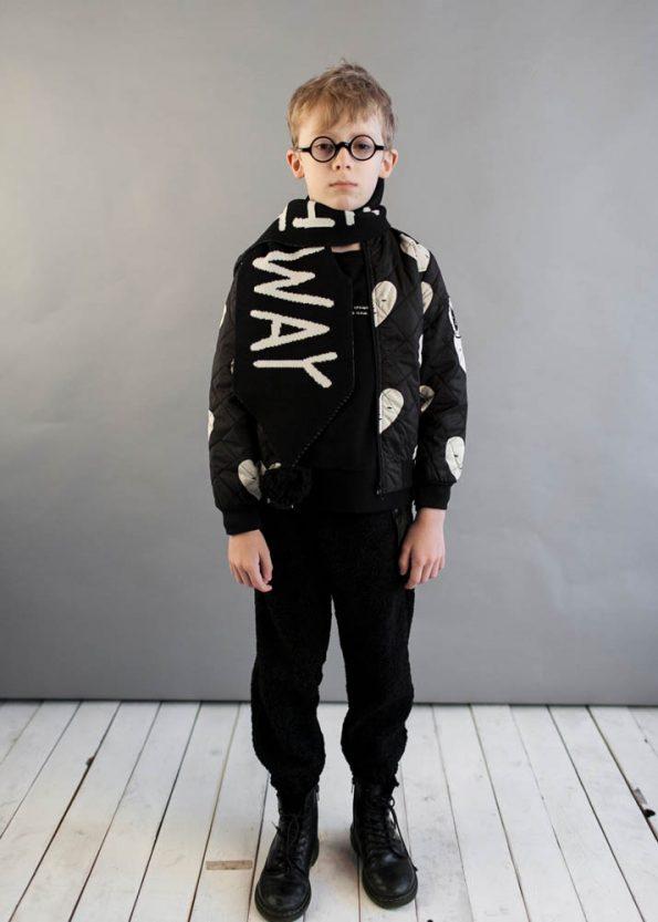 Beau Loves Black Knitted Scarf Black Hearts Padded Bomber Black Teddy Fur Pants