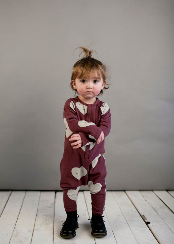 Beau Loves Grape Raglan Heart Baby Romper