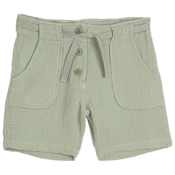 S034-garçon-short-gaze-coton-vert-kaki-devant
