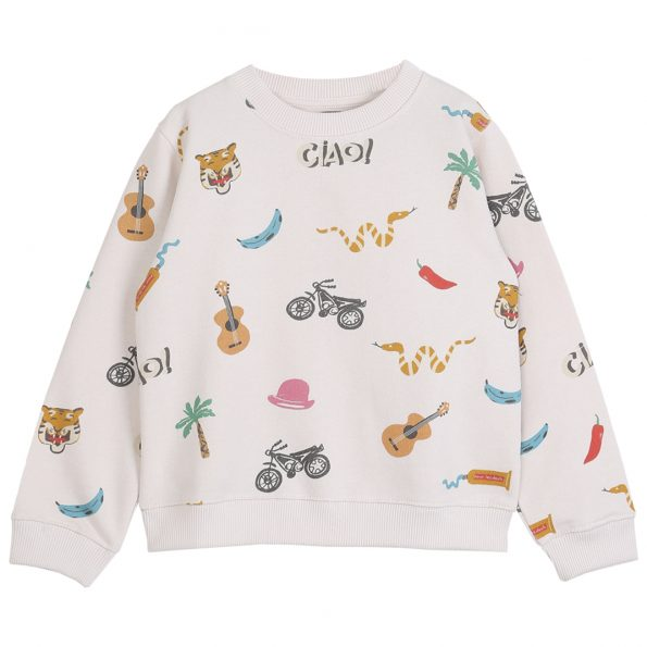 S082-garçon-sweatshirt-coton-bio-imprimé-multicolore-écru (AO india)