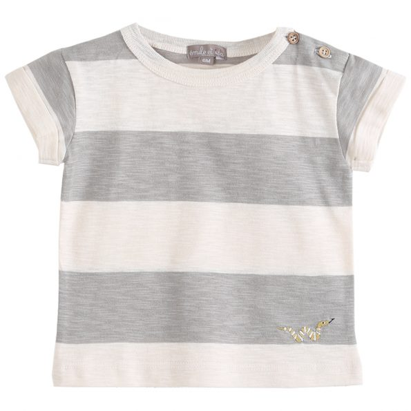 S137-bébé-teeshirt-coton-bio-rayure-ecru-gris-argile