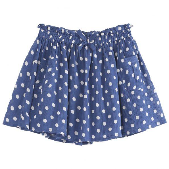 S199-fille-robe-coton-crépon-imprimé-broderie-pois bleu